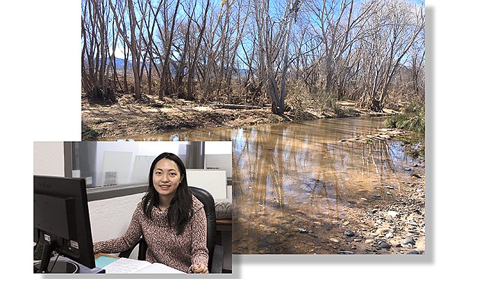 "Yunpei ""Rainia"" Zhang, an intern from Arizona State University studying landscape design, is helping design landscape plans for the Parsons Riverfront Preserve. VVN/Kelcie Grega"