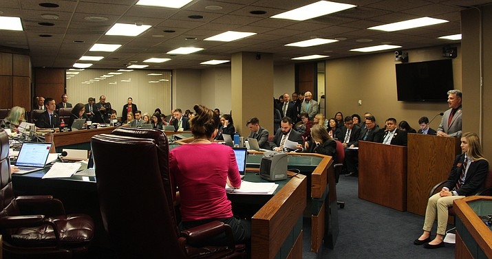 A full house was present as the Appropriations Committee voted 6-3 Tuesday in favor of moving SB 1163, the newly named sports betting bill, along in the legislative process of the Senate. (Photo by Joshua Shure/Cronkite News)