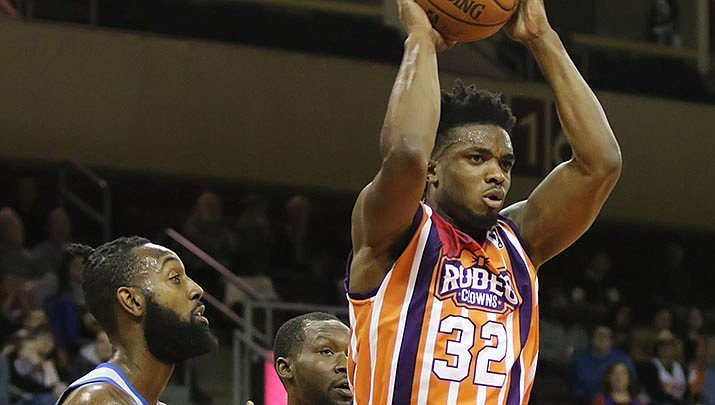 Northern Arizona Suns guard Retin Obasohan moves the ball against the Texas Legends at NAZ Western Night on Saturday, Jan. 19, 2019, in Prescott Valley. (Matt Hinshaw/NAZ Suns)