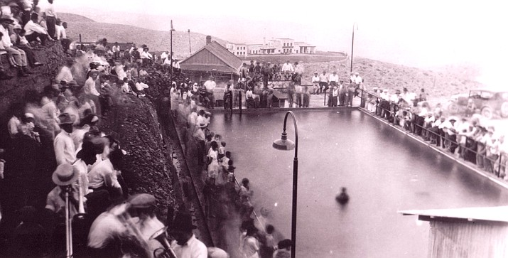 Opening day circa 1928 of what was known as the Mexican Pool or Mexican Tank, above. Image provided courtesy of the Jerome Historical Society.