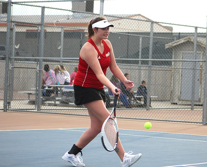 Lee Williams senior Faith Nielsen picked up a 6-1, 6-0 victory over Kingman High's Charlotte Stockstill on Friday at KHS. (Daily Miner file photo)
