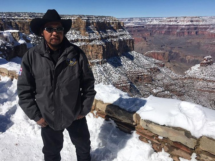 "Havasupai Tribal Council Member Claudius Putesoy says contaminated water affects his day to day life. ""I'm a rancher and I hike a lot of cattle up here and it affects most of the water down there in Supai."" (Photo by Lillian Donahue / Cronkite News)"