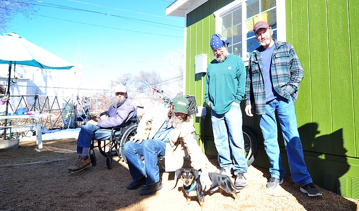 Mike Clubine, Alan Hefley, James McNear, and Major Beesley at the Prescott Coalition for Compassion and Justice cottage community in Prescott Thursday, Feb. 28, 2019. (Les Stukenberg/Courier)