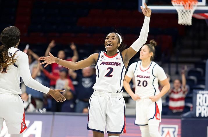 Arizona's Aari McDonald (2) celebrates a basket against a Oregon State on Sunday, March 3, 2019, in Tucson. Arizona lost to Oregon State 65-60 in double overtime Sunday. (Arizona Athletics/Courtesy)