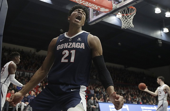 Gonzaga forward Rui Hachimura (21) yells after dunking against Saint Mary's during the first half of an NCAA college basketball game in Moraga, Calif., Saturday, March 2, 2019. (Jeff Chiu/AP)