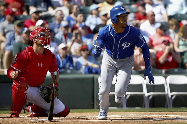 Kansas City Royals' Adalberto Mondesi, right, and Los Angeles Angels catcher Kevan Smith watch Mondesi's home run during the first inning of a spring training baseball game Friday, March 1, 2019, in Tempe, Ariz. (Ross D. Franklin/AP)
