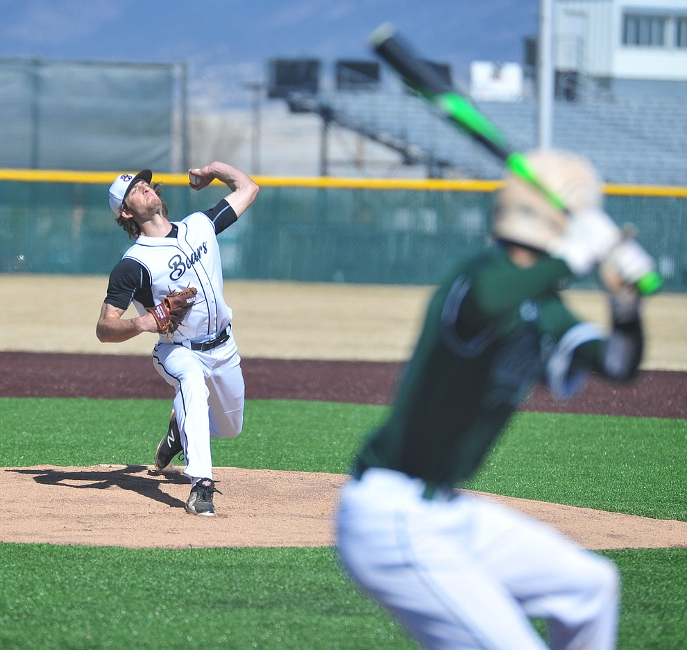 Bradshaw Mountain's Paxton Prentice delivers a pitch as the Bears host the Flagstaff Eagles Tuesday, March 5, 2019 in Prescott Valley. (Les Stukenberg/Courier)