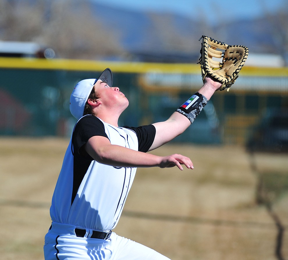 Bradshaw Mountain's Blair Hillig goes for a foul ball as the Bears host the Flagstaff Eagles Tuesday, March 5, 2019 in Prescott Valley. (Les Stukenberg/Courier)