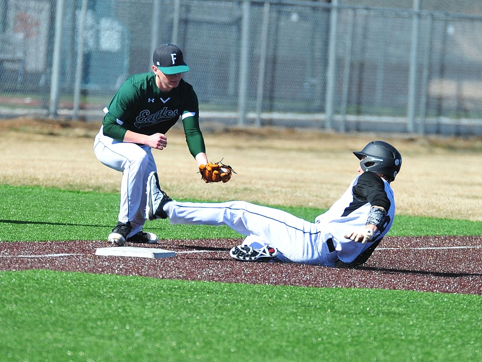 Bradshaw Mountain's Josh Grant gets tagged out at third as the Bears host the Flagstaff Eagles Tuesday, March 5, 2019 in Prescott Valley. (Les Stukenberg/Courier)