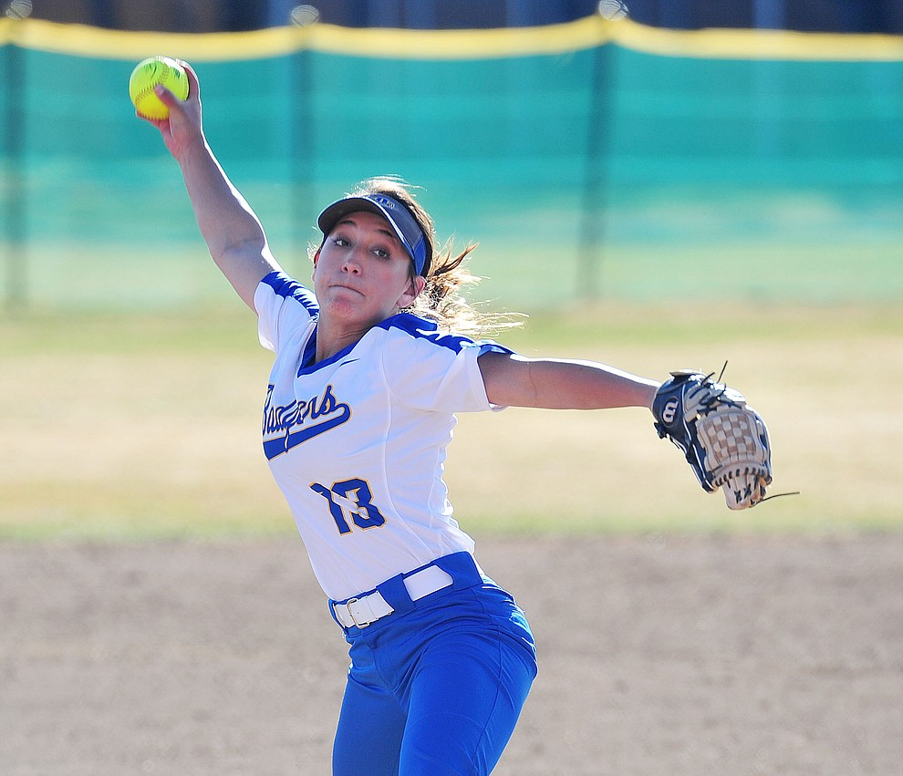 Prescott's Makayla Reyes delivers a pitch as the Badgers host the Mingus Marauders Tuesday, March 5, 2019 in Prescott. (Les Stukenberg/Courier)