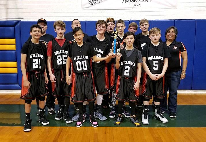 The Williams Falcons place second in the A Team tournament March 1 in Ash Fork. The team includes from left: Kevin Recendez, coach Steve Sutton, Gabriel Lowe, Coach Cody, Nickoli Cody, Drew Logan, Bryton Cox, Jonathan McMahon, Danny Siegfried, Mario Salazar, Jacob Elliot, JP Echeverria and coach Deniz Chavez. (Submitted photo)