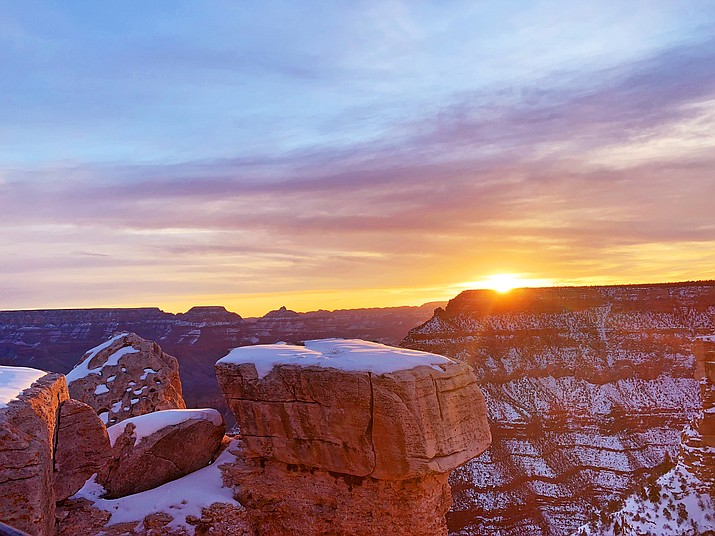 Sunrise at Grand Canyon Feb. 26, the first day of a new century at the park. (Photo courtesy of Arizona State Parks and Trails)