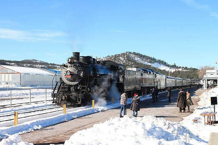 Grand Canyon Railway's steam train takes off from the Williams Depot in honor of Grand Canyon National Park's centennial celebration Feb. 26. (Loretta Yerian/WGCN)