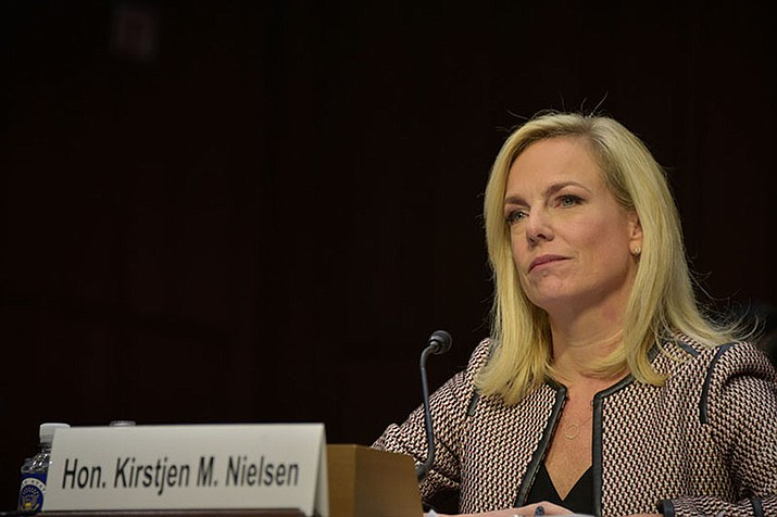 Secretary of Homeland Security Kirstjen Nielsen testifies during a Senate Judiciary Committee hearing in Washington, D.C., Jan. 16, 2018. Nielsen told a House committee Wednesday March 6, 2019 the country faces a serious crisis at the southern border. (DHS photo by Jetta Disco)