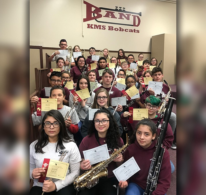 Kingman Middle School band students performed at the Arizona Music Educators Association's Northern Junior High Solo & Ensemble Festival Saturday and brought home excellent ratings. (Photo courtesy of Julie Gragg)