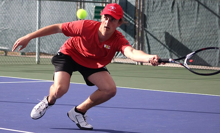 Jordon Freeman tallied a 6-0, 6-0 victory against Cactus' Troy Pagone at No. 2 singles Tuesday to help propel the Vols to their third straight sweep in a 9-0 win over Cactus. (Photo by Beau Bearden/Daily Miner)