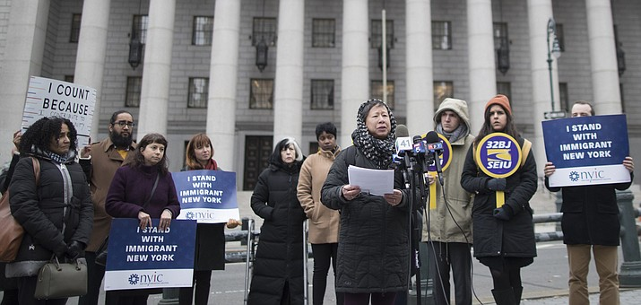 Elizabeth OuYang, coordinator of New York Counts 2020, speaks during a news conference Nov. 27, 2018, outside the Thurgood Marshall United States Courthouse. (Mary Altaffer/AP, File)