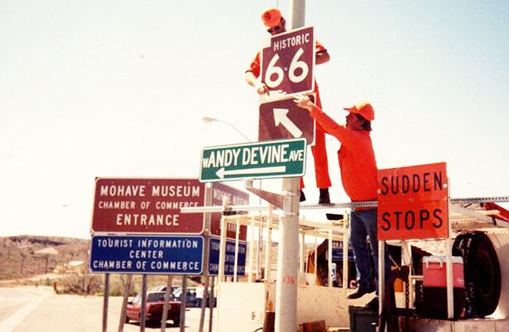 Original Historic Route 66 signs are installed near Kingman, Arizona. (Photo/Historic Route 66 Association of Arizona)