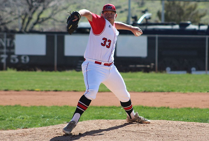 Lee Williams senior Matt Bathauer allowed two earned runs on six hits with six strikeouts and three walks in six innings of work Thursday afternoon in a 13-3 victory over Coconino. (Photo by Beau Bearden/Daily Miner)