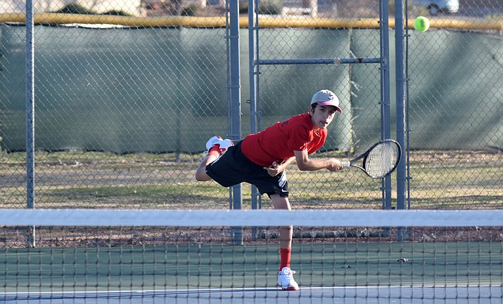 Mingus junior John Valentine won his singles match on Tuesday against Glendale at home. VVN/James Kelley