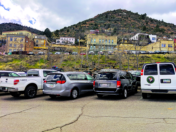 Parking spaces quickly fill up along Hull Avenue Friday afternoon. Parking in Jerome is free, but also limited. According to the last U.S. census, Jerome has a population of 455. Jerome also receives the second-most amount of tourism in the Verde Valley, according to a Northern Arizona University-sponsored Verde Valley tourism survey. VVN/Kelcie Grega