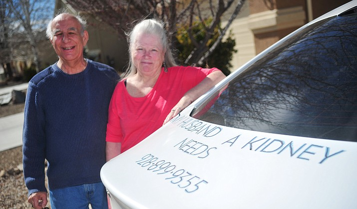 Prescott Valley's Elaine and Rocco Giordano are using a somewhat old-fashioned method to try and find a kidney donor for Rocco, simple and to the point on the back of their car. (Les Stukenberg/Courier)