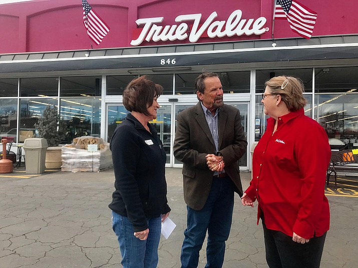From left, Pam McLaren, Heritage Park Zoo executive director; Lew Rees, Western News and Info Events and Marketing Director; and Susanne Andre-Springer, a member of the Andre family and manager at True Value Hardware, talk about True Value's donation to the zoo on March 8, 2019. (George Johnston/Courier)
