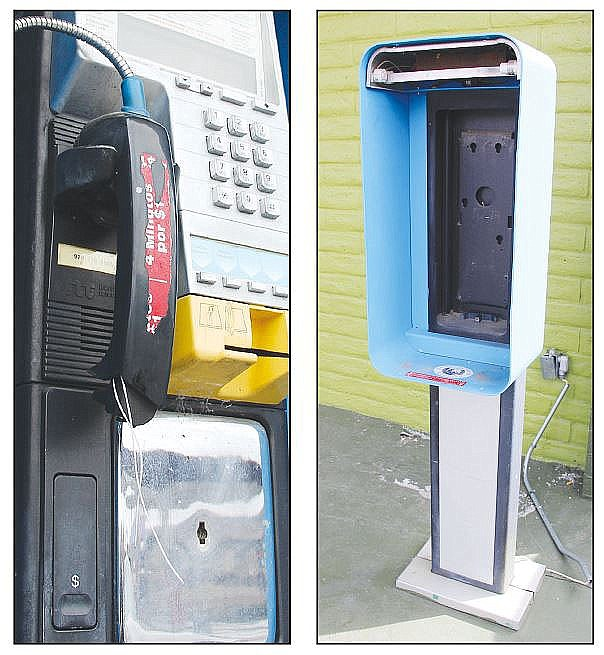 Two pay phones in the Prescott area stand at the not-so-ready. One, far right, is missing entirely, while the other – updated for credit card use – has a broken receiver. (Max Efrein/Courier, file)