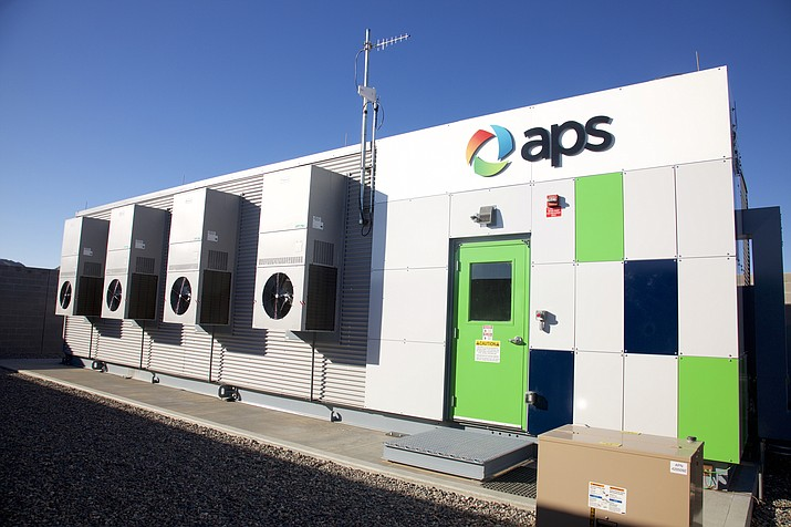 A large, building-size APS energy-storage battery installed in Buckeye on March 24, 2017. Arizona Public Service Co., Arizona's biggest electric utility plans to spend hundreds of millions of dollars to add large, building-size batteries to the power grid. (Arizona Public Service Co. via AP)