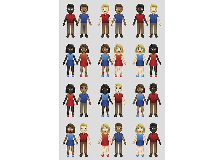 This undated illustration provided by Tinder/Emojination shows new variations of interracial emoji couples. In the world of emojis, interracial couples had virtually no options in terms of skin tone. But the emoji gods, otherwise known as the Unicode Consortium, recently rectified that, approving 71 new variations. Using six skin tones already available for one-person emojis, vendors such as Apple, Google and Microsoft will now be able to offer couples of color. Additions are expected later this year. (Photo released by Tinder/Emojination)