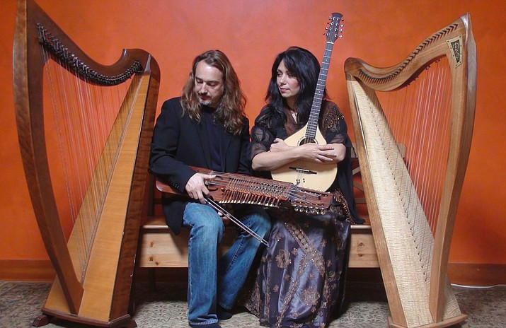 See Celtic Harps, Rare Instruments & Wondrous Stories performed by Aryeh Frankfurter and Lisa Lynne at 3 p.m. Sunday, March 10, 2019 at Granite Peak Unitarian Universalist Congregation, 882 Sunset Avenue in Prescott. Lynne and Frankfurter perform with two Celtic harps, the rare Swedish Nyckelharpa, Ukrainian Bandura, Cittern, Viola and more. Cost is $15. Advance tickets, www.brownpapertickets.com/event/4057125. (Courtesy photo/Lisa Lynne and Aryeh Frankfurter)