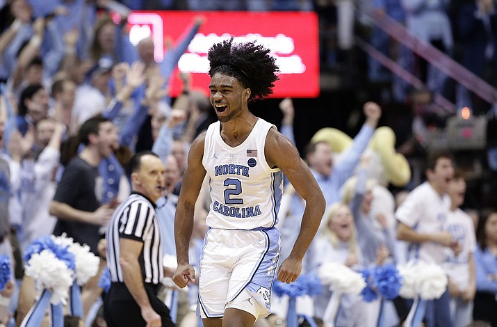 North Carolina's Coby White reacts following a play against Duke during the second half in Chapel Hill, N.C., Saturday, March 9, 2019. North Carolina won 79-70. (Gerry Broome/AP)