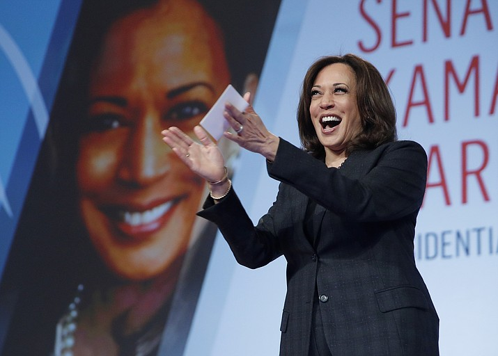"FILE - In this March 1, 2019 file photo Sen. Kamala Harris, D-Calif., speaks at the Black Enterprise Women of Power Summit, in Las Vegas. A growing list of Democratic presidential contenders want the U.S. government to legalize marijuana, reflecting a nationwide shift. Harris says it's the ""smart thing to do.""  (AP Photo/John Locher, File)"