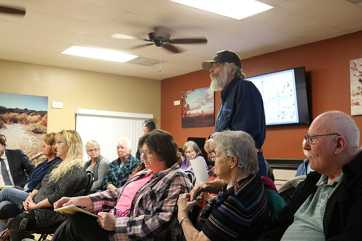 Residents of AAA Manufactured Home Park provided the commission at its February meeting with a petition signed by about 30 people, all of whom are against the conditional use permit that would authorize the property owner to occupy six lots in the park with park-model homes. That opposition was more in regards to the manner in which residents say the park went about instituting the change. (Photo by Travis Rains/Daily Miner)