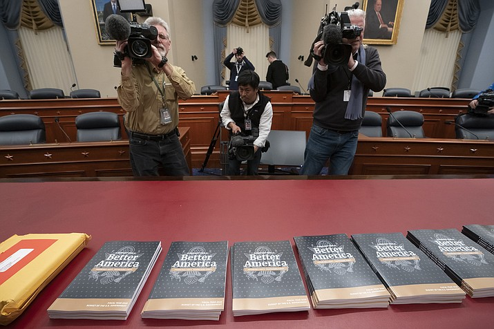 President Donald Trump's 2020 budget outline arrives on Capitol Hill at the House Budget Committee, in Washington, Monday morning March 11, 2019. Trump's new budget calls for billions more for his border wall, with steep cuts in domestic programs but increases for military spending. (J. Scott Applewhite/AP)