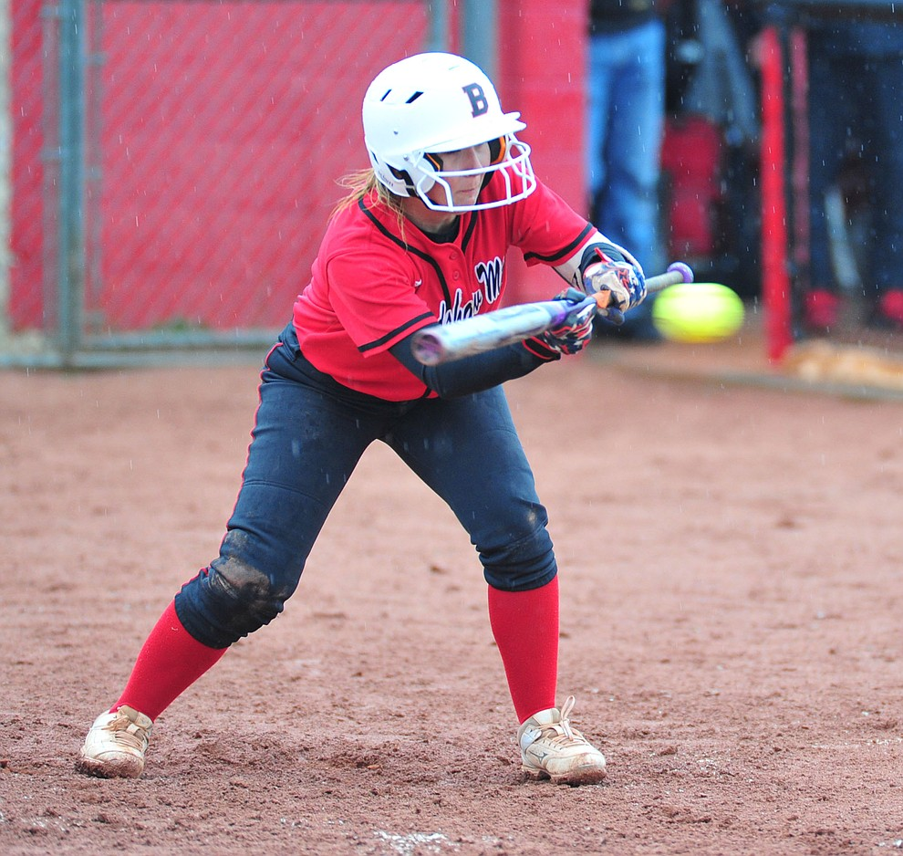 Bradshaw Mountain's Shelby Dilcher tries to lay down a bunt as the Bears take on Coconino in a steady rainfall, Monday, March 11, 2019, in Prescott Valley. Les Stukenberg/Courier)
