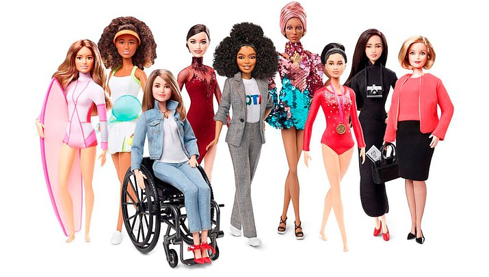 "In celebration of Barbie's 60th anniversary Mattel unveiled a new collection of role model ""Shero"" Barbie dolls: Maya Gabiera, Naomi Osaka, Kristina Vogel, Tessa Virtue, Yara Shahidi, Adwoa Aboah, Dipa Karmakar, Chen Man and Ita Buttrose. (Mattel)"