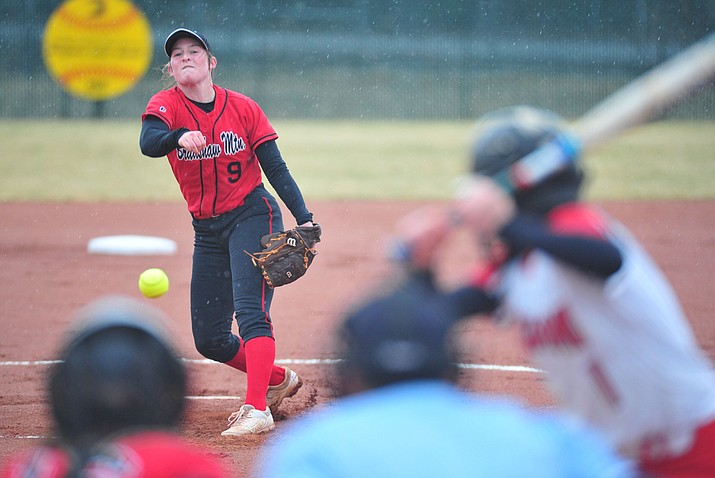"Bradshaw Mountain's Caitlynn Neal delivers a pitch as the Bears take on Coconino in a steady rainfall, Monday, March 11, 2019, in Prescott Valley. The Bears tried to fit in the Grand Canyon region game, but Mother Nature seized the day, forcing postponement of the contest. A make-up date for playing the remainder of Monday's game, starting with the fifth inning, has been tentatively scheduled for Thursday, March 21. For an update on the Bears' weekend play in the Apollo ""Cool Nites"" Tournament, see story on 2B. (Les Stukenberg/Courier)"
