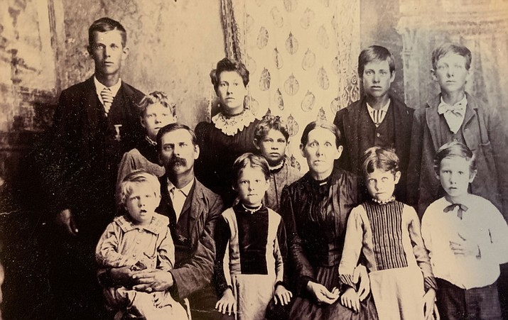 Carl Jerome Eaton and his family, ancestors of Belinda Sharp, Mohave County Geneology Society president. The MCGS is hosting a free class at 1 p.m. Saturday, March 16, at the Church of Jesus Christ of Latter-Day-Saints, 3180 Rutherford St. (Photo courtesy Belinda Sharp)