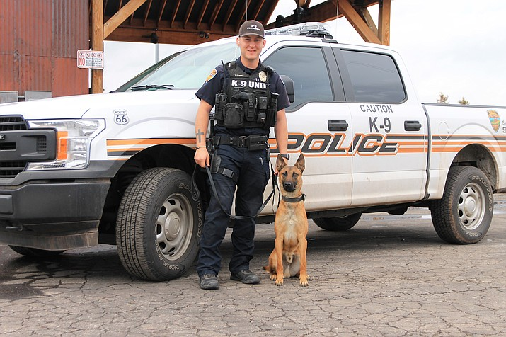 Law enforcement officer Tyler Forbes and K9 Nitro have recently been certified as a K9 unit with the Williams Police Department. (Wendy Howell/WGCN)