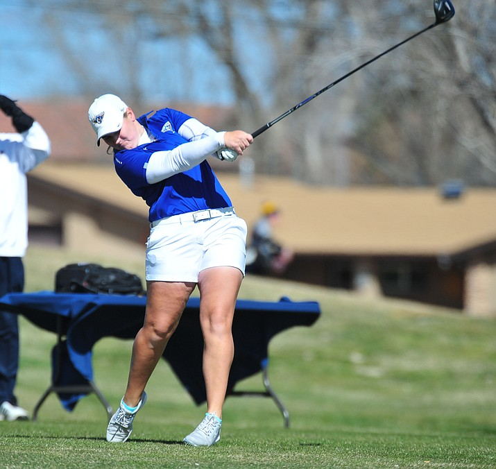 Embry Riddle's Jessica Williams tees off during Monday's second round of the ERAU Spring Invite tournament at the Antelope Hills Golf Course in Prescott. (Les Stukenberg/Courier)