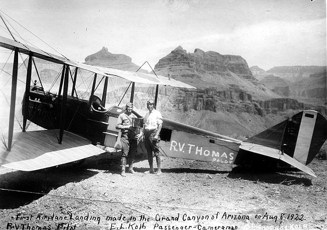 Stunt pilot R.V. Thomas and photographer Ellworth Kolb successfully landed a plane on Plateau Point, the first such landing every accomplished. (Photo courtesy of NAU Cline Library, Kolb Collection)