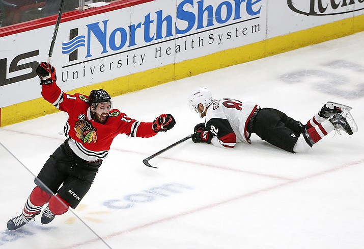 Chicago left wing Brendan Perlini celebrates after scoring against Arizona during the third period Monday, March 11, 2019, in Chicago. (Kamil Krzaczynski/AP)