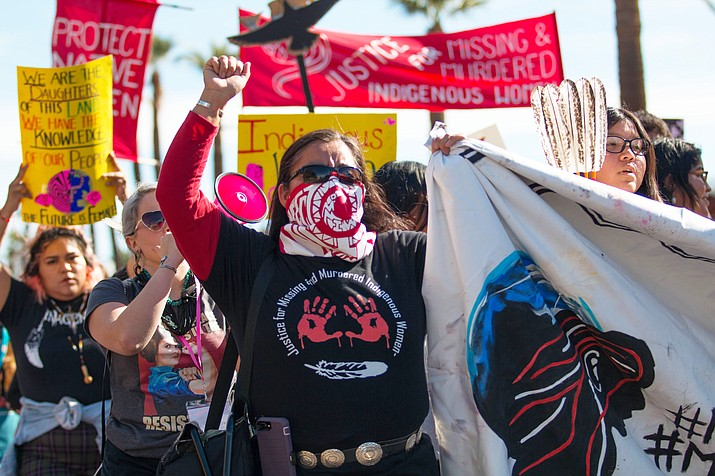Indigenous women led the 2019 Phoenix Women's March, where they advocated for their missing and murdered Native sisters. (Photo by Delia Johnson/Cronkite News)