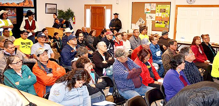 Around 60 concerned citizens gather at Kayenta Town Hall March 9 for a forum regarding the potential sale of Navajo Generating Station and Peabody Kayenta Coal Mine to the Navajo Transitional Energy Company. NGS and the Kayenta Coal Mine are scheduled to be permanently closed in December. (Photo/Navajo Nation Council via Facebook)