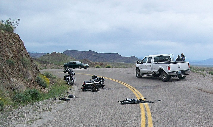 The driver of this crashed motorcycle had to be transported to a Las Vegas hospital with serious injuries after a crash Monday on Oatman Highway. Mohave County Sheriff's Office reported that it appeared the operator was not wearing a helmet. (Mohave County Sheriff's Office photo)