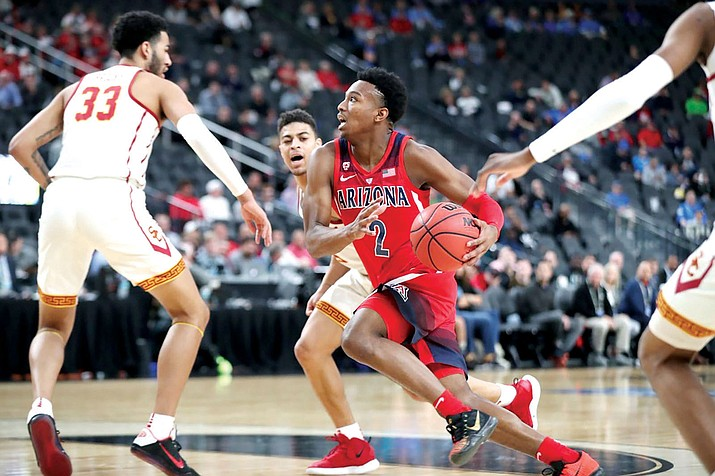 Arizona's Brandon Williams scored 13 points Wednesday afternoon in a 78-65 loss to USC in the opening round of the Pac-12 Tournament. (Photo courtesy of Arizona Athletics)