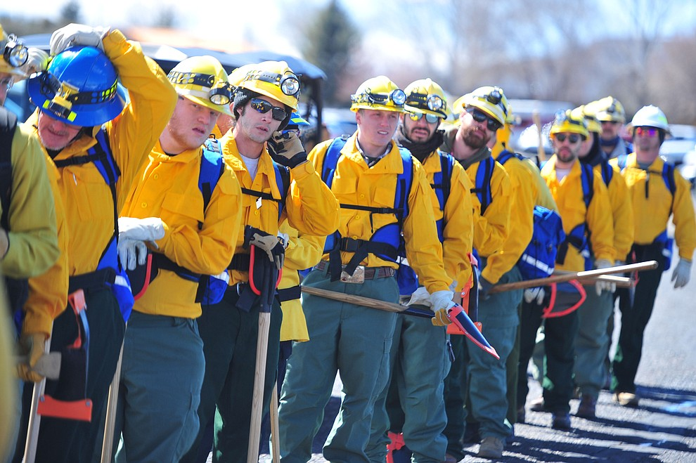 Arizona Wildfire & Incident Management Academy's 92 students in four S130/190 Basic Wildland Firefighting classes go out on their field day at Embry Riddle Aeronatical University, Wednesday, March 13, 2019, in Prescott. (Les Stukenberg/Courier)