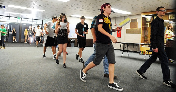 Incoming freshmen practice going to their classes during Prescott High School's Badger Day Freshmen orientation in this photo from archives. (Les Stukenberg/Courier, file)