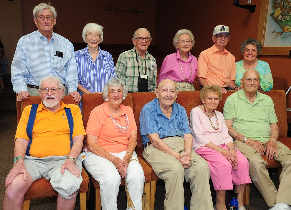 Front row from left, Bruce Fee, Martha Cvetkovich Smock, Walt Minucci, Joan Vornara Gegg, Charlie Fornara; Second row from left PG Rosenblatt, Ann Ravey Hazeltine, Charlie Phillips Elisabeth Ruffner, Johnny Marchello and Jane Robbins McCaffrey. (Les Stukenberg/Courier file from 2014)